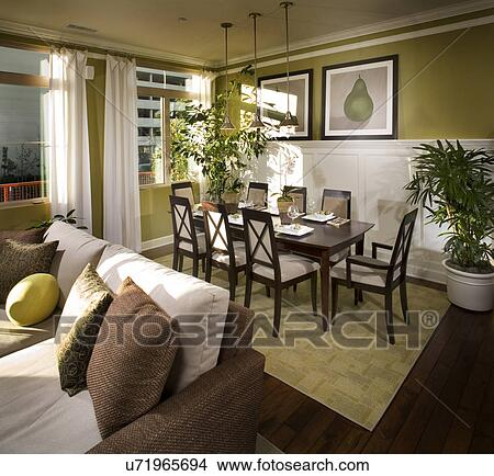 Stock Photo Of Traditional Dining Room With Green Walls And
