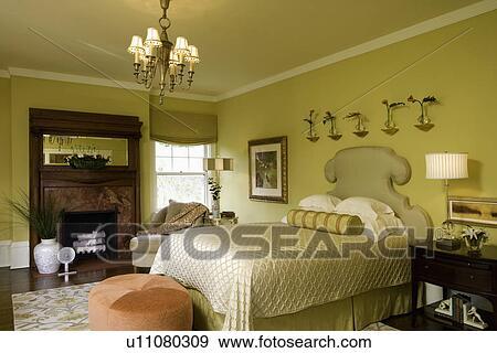 Archivio fotografico bedroom citron colorare - Letto tappezzato ...