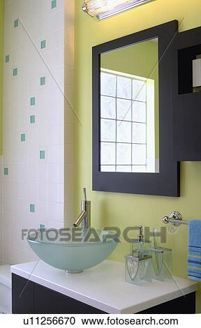 Stock Photography of Contemporary bathroom with green ...