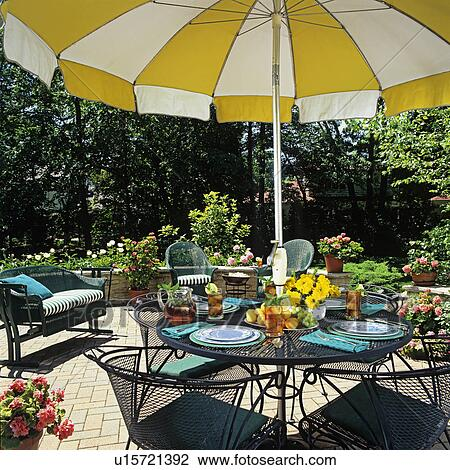 Stock Photo Of Patios Close Up Of Umbrella Table And