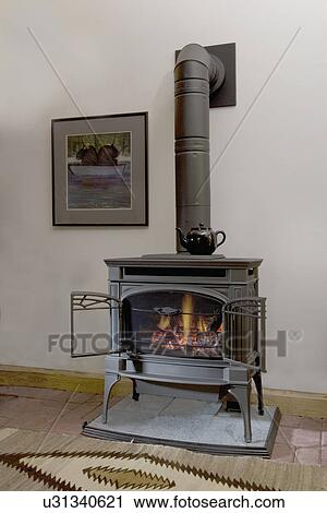 stock photography of fireplaces lopi gas burning stove looks like a wood burning stove. Black Bedroom Furniture Sets. Home Design Ideas