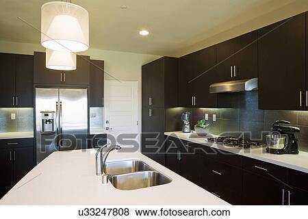 Pictures of double sink in kitchen island in contemporary - Kitchen sinks san diego ...