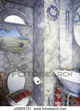 stock photography of bathrooms detail of trompe l 39 oeil painting on bathroom wall with africa. Black Bedroom Furniture Sets. Home Design Ideas