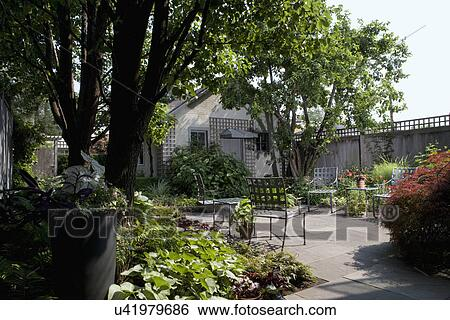 Stock Image   PATIOS: City Garden, Wood Privacy Fence, Garage With Lattice,