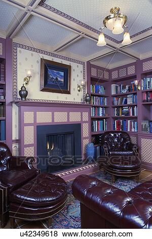 Pictures of HOME LIBRARY: Library, basement: Fireplace ...