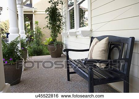 Front Porch Clipart stock images of bench on front porch, tustin, california, usa