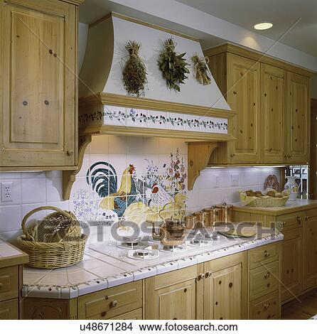 Archivio fotografico   cucina, con, dettaglio, di, cima cucina, e ...