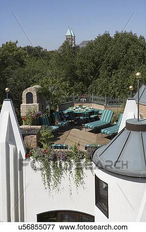 Beeld terras area rooftop deck terras het dineren gebied chaise lounges built in - Beeldterras ...