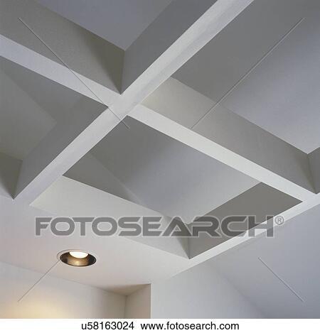 Archivio Fotografico - dettaglio, di, bianco, soffitto, griglia, fatto ...