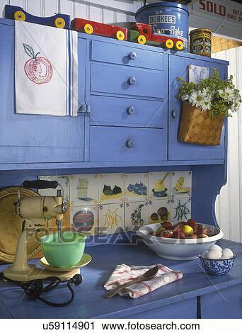Archivio fotografico   cucina,  , vacanza, home., blu, dipinto ...