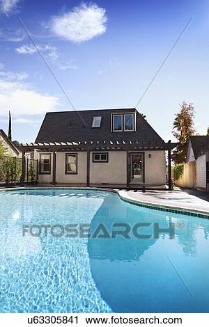 Stock Photography Of Exterior View Of Bungalow With Swimming Pool Pasadena California Usa