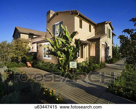 Tuscan style landscaping view