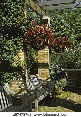 Picture Gardens Overhead Pergola Hanging Baskets Two Wooden Benches Between Brick Columns