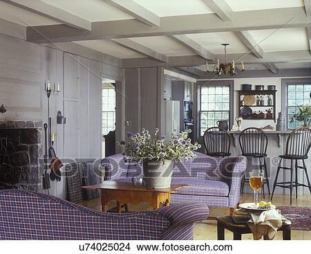 stock foto wohnzimmer sauber land lebensunterhalt stil ausgesetzt balken grau. Black Bedroom Furniture Sets. Home Design Ideas