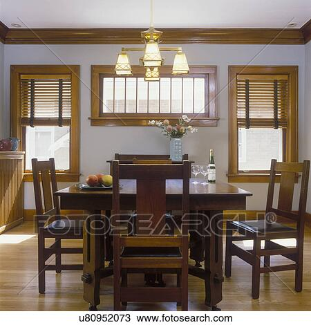 Stock Photo Of DINING ROOMS   Remodeled / Restored Mission Style Room.  Original Stained Wood Work, Plantation Blinds, Brass Arts And Crafts Style  Chandelier ... Part 77