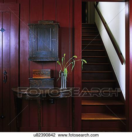 Stock Photo   Stairways: Bottom Of Enclosed Staircase, Restored 1841 Home,  Wood Panels