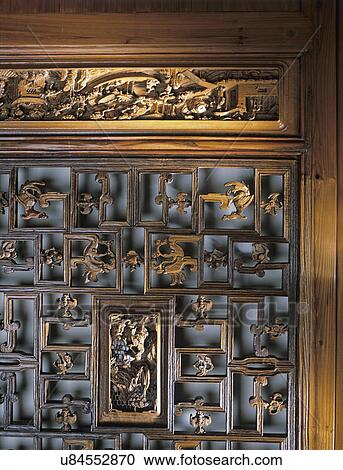 Stock Photography Of Dining Room Detail Carved Wooden Doors