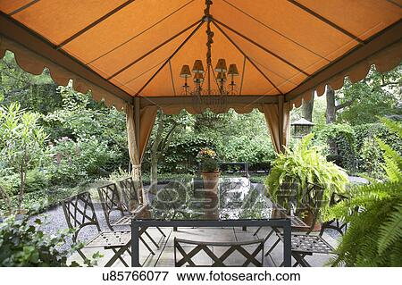 Picture   GAZEBOS: Garden, Patio, Fabric Gazebo, Chandelier, Rectangular  Dining Table