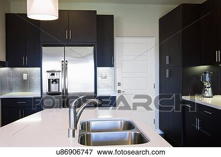 Picture of double sink in kitchen island in contemporary - Kitchen sinks san diego ...