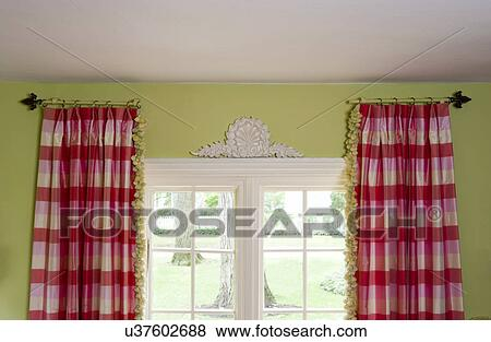 WINDOW TREATMENTS: Stationary Curtain Rods Hold Pink And White Buffalo  Check Curtains With Green Tassel Trim, Lime Green Walls, Architectural  Accent Above ...