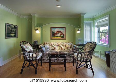 stock photography of contemporary living room with wood floor and