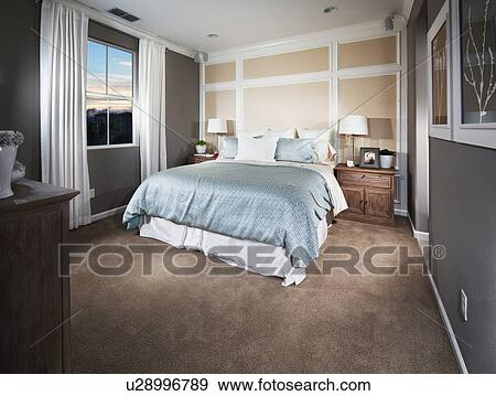 banque de photographies int rieur de contemporain chambre coucher moquette flooring. Black Bedroom Furniture Sets. Home Design Ideas