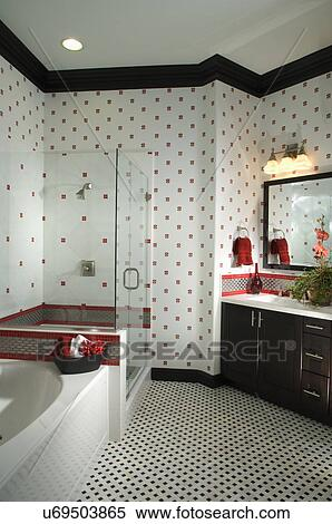 Stock Image Of Middle Class Bathroom With Patterned Wall And Floor Ranch Cucamonga California
