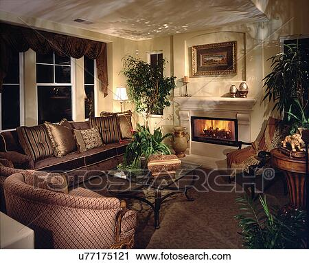 Stock Photography Of Middle Class Living Room With Fireplace