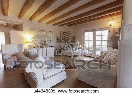 ... Santa Fe; New Mexico; USA. Stock Image   Seating Furniture With Exposed  Ceiling Beams In Spacious Living Room At Home;