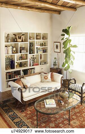 Picture   Living Room With Seating Furniture And Built In Shelf At Home; Santa  Fe