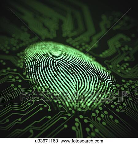 Stock Photo of Fingerprint and printed circuit board, illustration ...