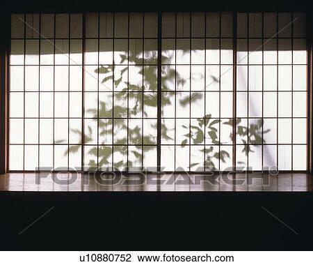 Archivio fotografico silhouette di foglie dietro - Porta scorrevole giapponese ...