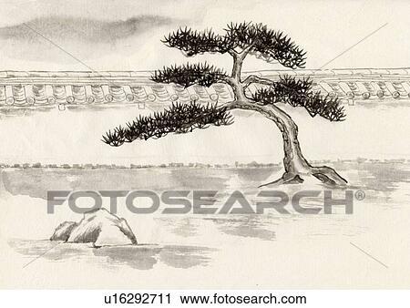Clipart arbre et jardin japonais tableau encre for Jardin japonais dessin