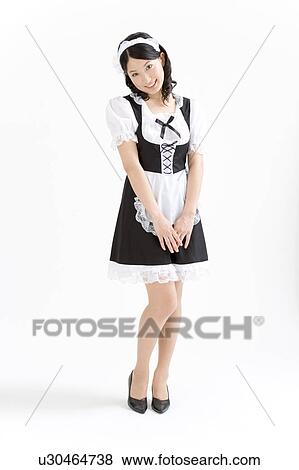 Pictures of A young woman in French maid outfit smiling u30464738 ...