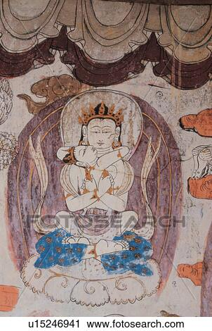 Stock photography of mural of buddha tibet u15246941 for Buddha mural art