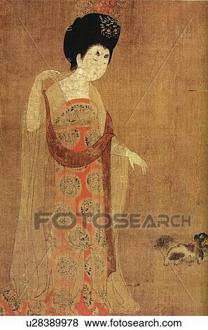 Pictures of ancient painting of maid of honour in tang for Dynasty mural works