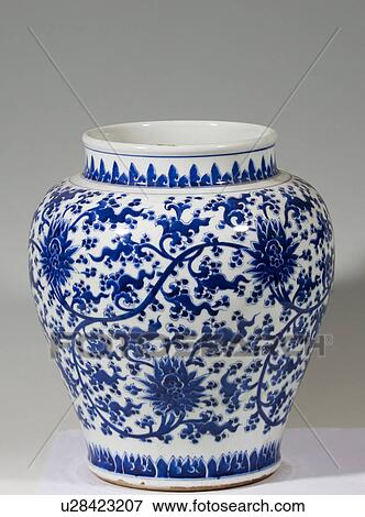 image blanc bleu vin vaisseau branch tangled pivoines conception qing dynasty. Black Bedroom Furniture Sets. Home Design Ideas