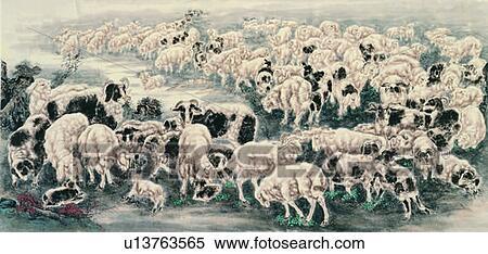 Stock illustration ram ewe chinese painting sheep lamb art