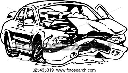 Clip art of illustration lineart car auto automobile wreck crashed u25435319 search - Coloriage cars accident ...