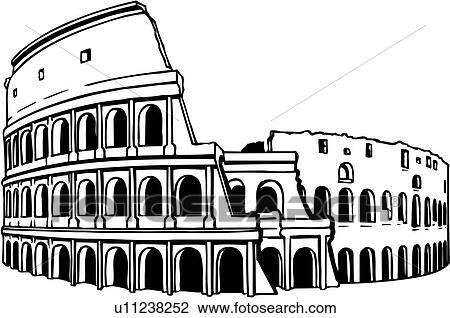 Line Art Clipart : Clipart of illustration lineart coliseum colosseum rome italy