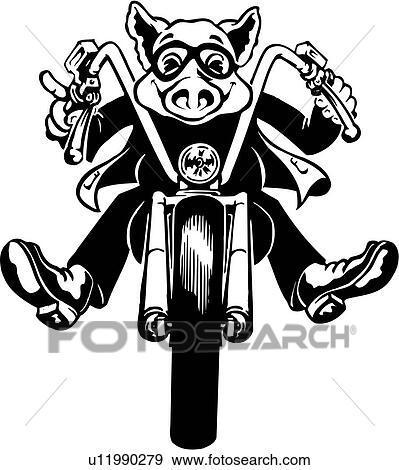 Clip Art Of Illustration Lineart Motorcycle Hog Pig