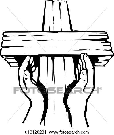 Clipart of illustration, lineart, hands, faith, religion cross ...