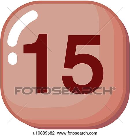 Clipart of number, icon, logo, fifteen, sign, 15 u10889582 ...