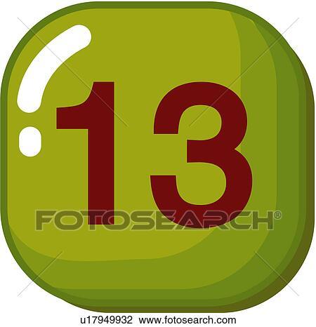 Clipart nombre ic ne logo treize signe 13 u17949932 for Chiffre treize