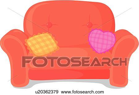 clip art gemuetlicher einrichtung bequem sessel leichter stuhl kissen u20362379 suche. Black Bedroom Furniture Sets. Home Design Ideas