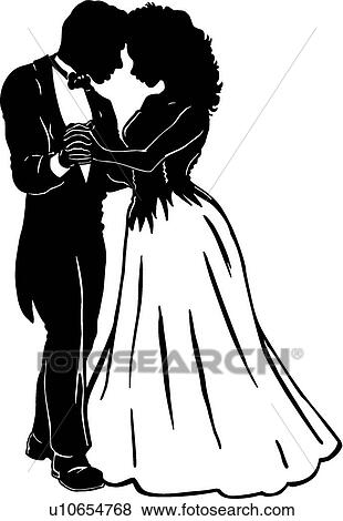 Prom Night Clipart Fun Cute Clipart Girl and Boy Instant