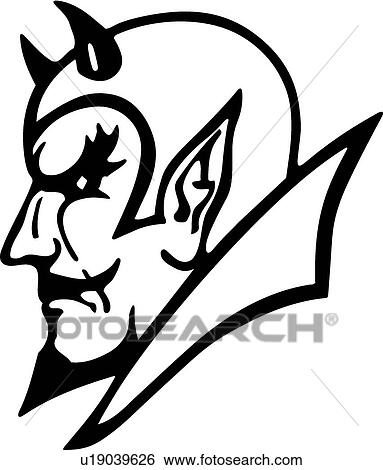 Clip Art of Devil Head u19039626 - Search Clipart, Illustration ...