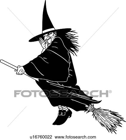 how to draw a witch on a broom