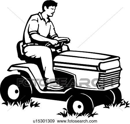 Lawn Mower Drawings Clip Art Riding Mower