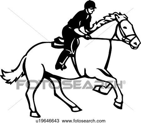 Clipart cheval et rider03 u19646643 recherchez des clip arts des illustrations des - Clipart cheval ...